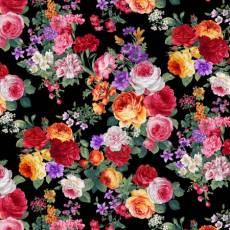 Patchworkstoff Quilt *AYANA* Rosen auf schwarz