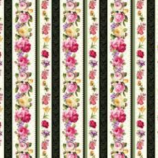 Patchworkstoff Quilt *AYANA* Streifenstoff mit Rosen