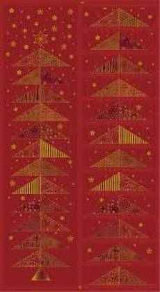 Patchworkstoff Quilt Stoff Glimmering Adventskalender Panel auf red bordeaux 4595-133