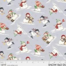 Baumwollstoff *Snowmen Meadow* Schneemänner auf grau