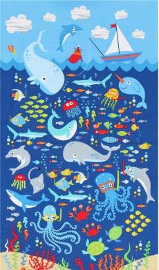 Patchworkstoff Panel (ca. 60 cm) *Sea*; Meerszene (kindlich)