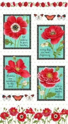 Patchworkstoff Panel 60 cm *Poppy Perfection* Mohnblumen rot türkis creme HG21-0001
