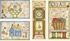 Patchworkstoff Panel *Time to stitch* blau creme rot RR 25455