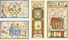 Patchworkstoff Panel (ca. 60cm) *Time to stitch* Beige