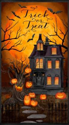 Patchworkstoff Panel *Haunted Night* Halloween Haus 60x110 cm