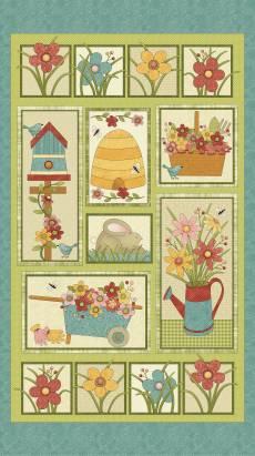 Patchworkstoff Panel *Garden Days* Blumen Hase Vogelhäuschen rot blau grün gelb  10070