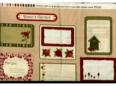 Baumwollstoff Panel ca. 105 x 110 cm *Rosies Garden* Labels grün creme rot braun