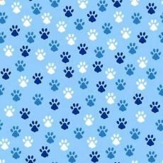 Baumwollstoff Hundepfoten auf hellblau *Love is a four legged word*