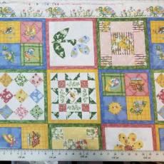 Patchworkstoff Kinderstoff *Snug as a Bug* Schildkröten Schmetterlinge Blumen gelb grün hellblau NC 535