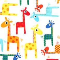 Baumwollstoff Bunte Giraffen auf weiß Timeless Treasure