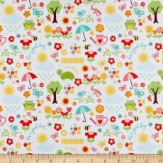 Baumwollstoff  *Blooms that you are planted* Wiesenszene