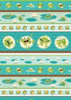 Patchworkstoff  *Frogland Friends* fröhliche Frösche lustige Schildkröten grün hellblau 4503-419