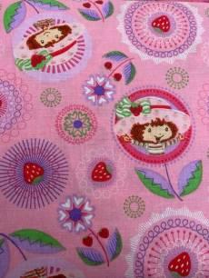 Patchworkstoff Quilt Stoff Emily Erdbeer (Kreisen mit Blumen)