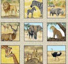 Patchworkstoff Safari Afrikanische Tiere in Quadraten