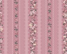Patchworkstoff Quilt Stoff Emily Roses Streifenstoff rosa mit weißer Bordüre