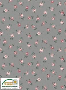 Patchworkstoff Quilt Stoff Emily Roses; klein gemusterte Rosen auf grau