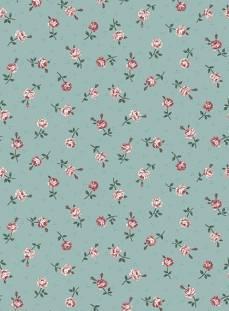 Patchworkstoff Quilt Stoff Emily Roses; klein gemusterte Rosen auf grün