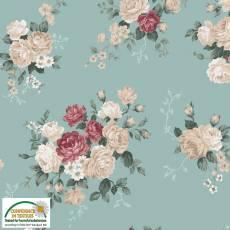 Patchworkstoff Emily Roses; Rosen auf graublau
