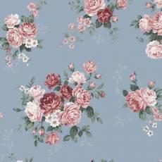 Patchworkstoff Emily Roses; Rosen auf blau