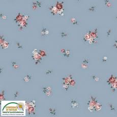 Patchworkstoff Quilt Stoff Emily Roses; kleine Rosen auf blau