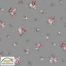 Patchworkstoff Quilt Stoff Emily Roses; kleine Rosen auf grau