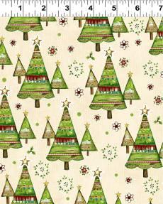 Patchworkstoff *Believe in the Season* Weihnachtsbäume auf creme