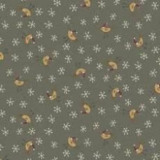 Patchworkstoff Quilt *Home for Christmas* Grauer Stoff mit Vögelchem