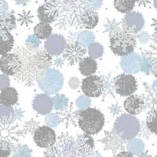 Patchworkstoff *Blue Holidays* Schneeflocken, Kugeln auf weiß