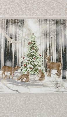 Patchworkstoff Weihnachten Panel *Winter White* Weihnachtsbaum Waldtiere  17371-88
