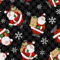 Patchworkstoff Weihnachten Panel Kringle Krossing Beistoff knuffiger Weihnachtsmann mit Geschenken, schwarz-dunkelrot