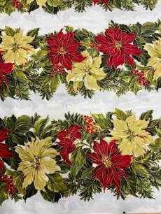 Patchworkstoff  *Poinsettia* Weihnachtssterne in Streifenoptik