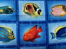 Patchworkstoff Fische in Quadrate