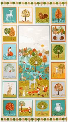 Patchworkstoff Quilt Panel Forest Animals Tier des Waldes