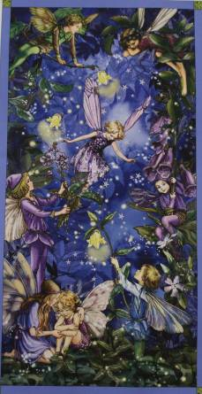 Patchworkstoff Fee, Elfe, Night Flower Fairy Panel, Nacht; lila Glitzer 60x112cm