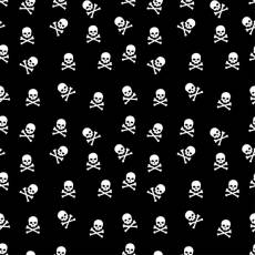 Sonderposten Maskenstoff Patchworkstoff in Überbreite 147 cm Totenköpfe auf schwarz 080605-300299