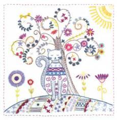 Stickbild Mon arbre de vie - Katze mit Baum