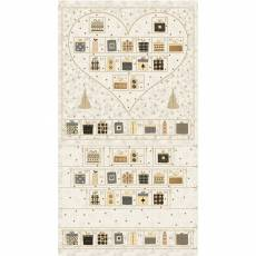 Patchworkstoff Quilt Panel STOF Advent Kalender 2020 Magic Christmas Herz creme
