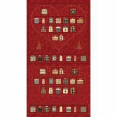 Patchworkstoff Quilt Panel STOF Advent Kalender 2020 Magic Christmas Herz bordeaux