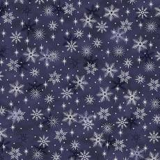 Patchworkstoff Quilt Stoff STOF Magic Christmas Schneeflocken auf dunkelblau