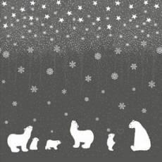 Patchworkstoff Quilt Stoff STOF Borderstoff mit Eisbären, Schneeflocken & Sterne auf dkl.grau