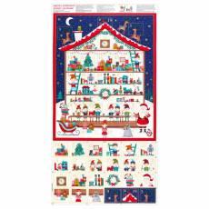 Patchworkstoff Stoff Panel Quilt Advents Kalender Let It Snow Santa`s Workshop