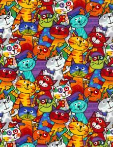 Patchworkstoff Stoff Quilt Katzen bunt multi Gail