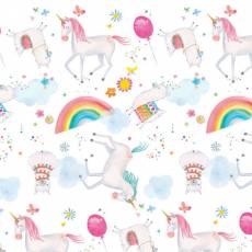Patchworkstoff Flanell *White Unicorns Comfy Flannel* Einhorn Alpaka Regenbogen rosa weiß gelb blau N0975AE-21