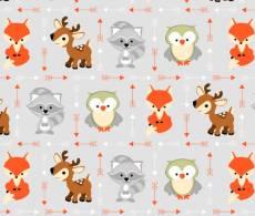 Patchworkstoff Flanell *Animal Buddies Flannel* Fuchs Eule Reh Waschbär weiß grau orange braun  1905