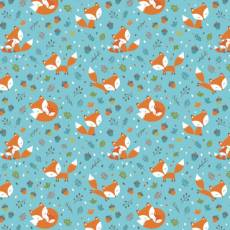 Patchworkstoff Flanell *Blue Frolicking Foxes Flannel* Füchse