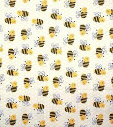 Patchworkstoff Flanell *Busy Bees* Biene schwarz gelb weiß 1966
