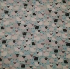 Patchworkstoff Schafe Schäfchen *Jolly Farm* schwarz weiß hellblau 1333 B