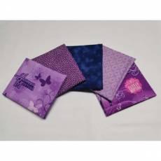 5 Fat Quarter 45 x 55 cm lila violett dunkelblau Hannah Montana Fat7