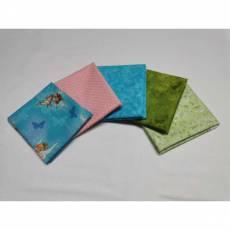 Paket Fat Quarter 45 x 55 cm Tinkerbell hellblau Fee rosa Punkte grün marmoriert  Blumen Fat43