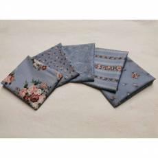 Paket Fat Quarter 45 x 55 cm Rosen Ranken blaugrau rosarot Blumen weiß Emily Roses Fat13